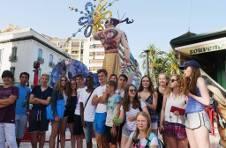 Thumbnail International students at a Hogueras party